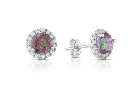 3.00 CTW Genuine Topaz Halo Martini Studs