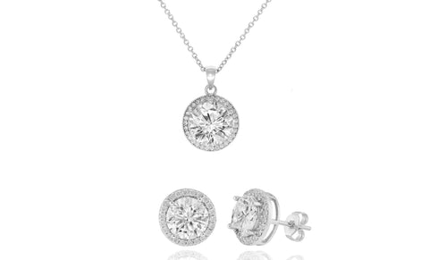 Elegant Crystal Round Halo Pendant and Earrings Set