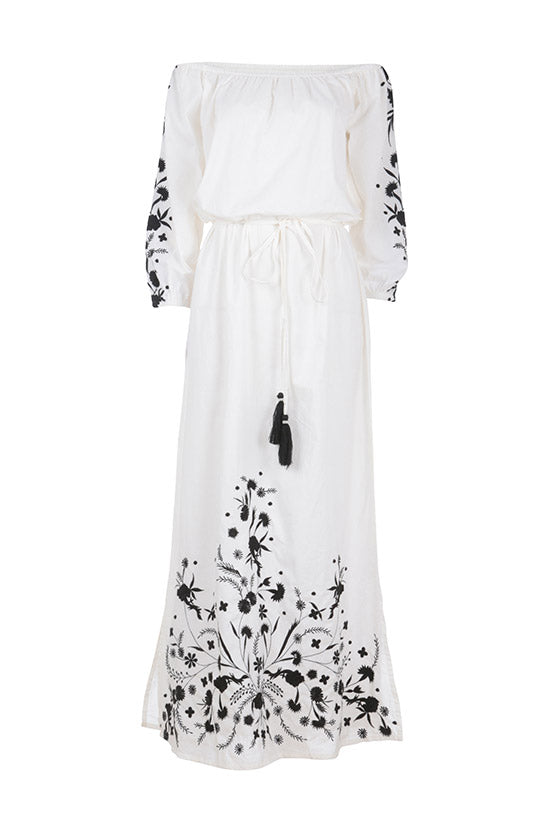 GRIMAUD MAXI WITH BLACK EMBROIDERY