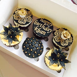 Black & Gold Theme Cupcakes