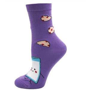 Food - Milk And Cookie Snack Time Novelty Socks