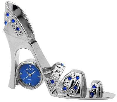 Shoe - Chrome/Blue High Heel Clock