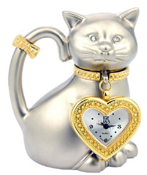 Cat with Pendant Novelty Desk Clock