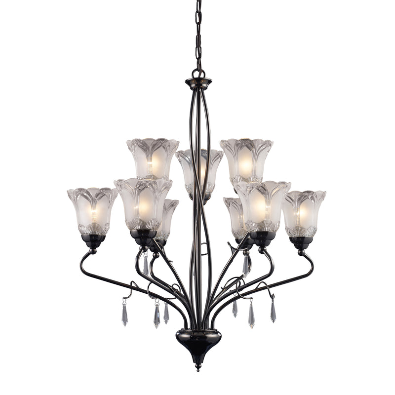 NOUVEAU 6+3 LIGHT CHANDELIER IN BLACk CHROME - Black Chrome