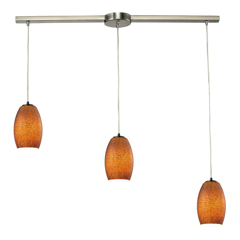 Andover 3 Light Pendant In Satin Nickel And Textured Brown Glass - Satin Nickel