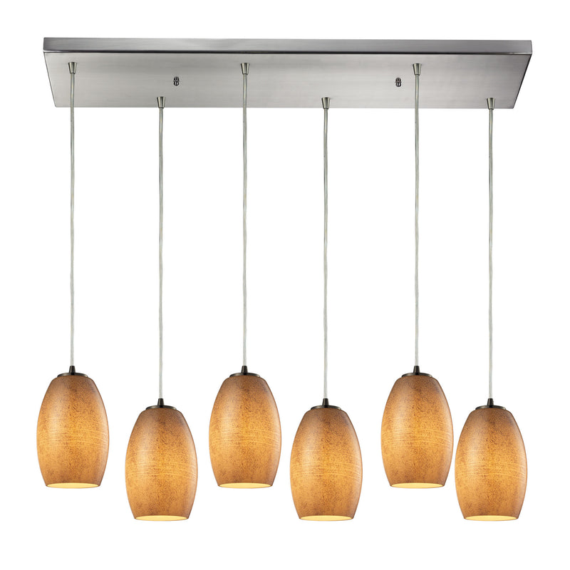 Andover 6 Light Pendant In Satin Nickel And Textured Beige Glass - Satin Nickel