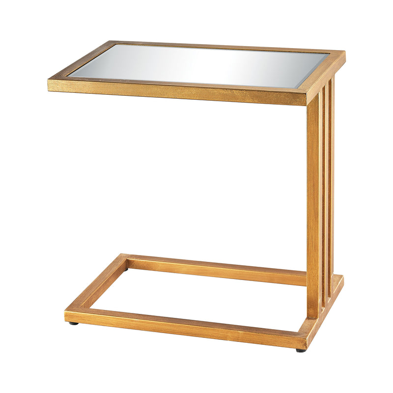 Andy Side Table In Gold Leaf And Clear Mirror. Clear
