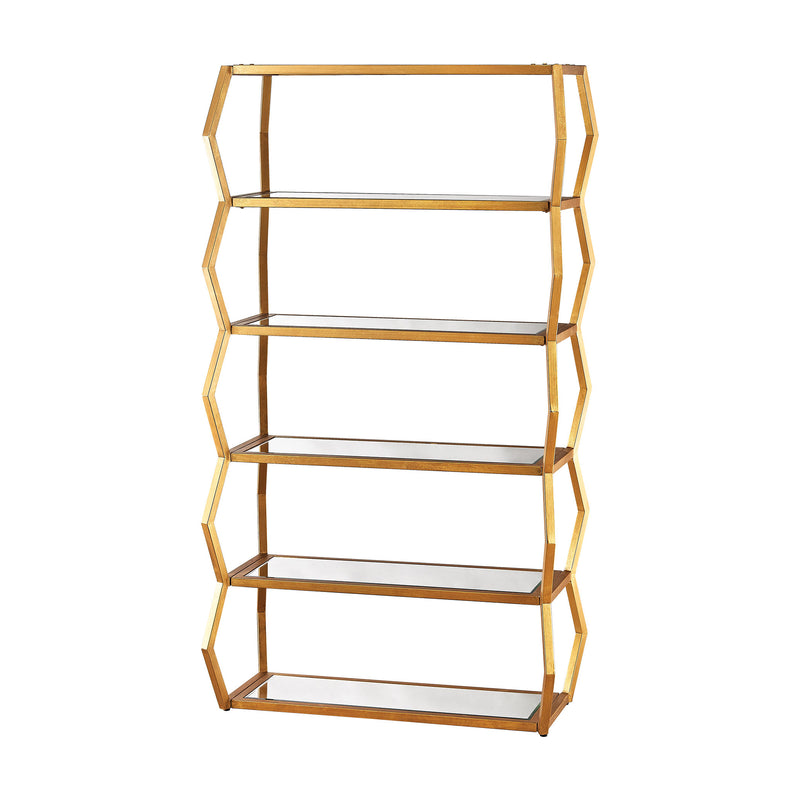 Anjelica Bookshelf In Gold Leaf And Clear Mirror. Gold Leaf,Clear