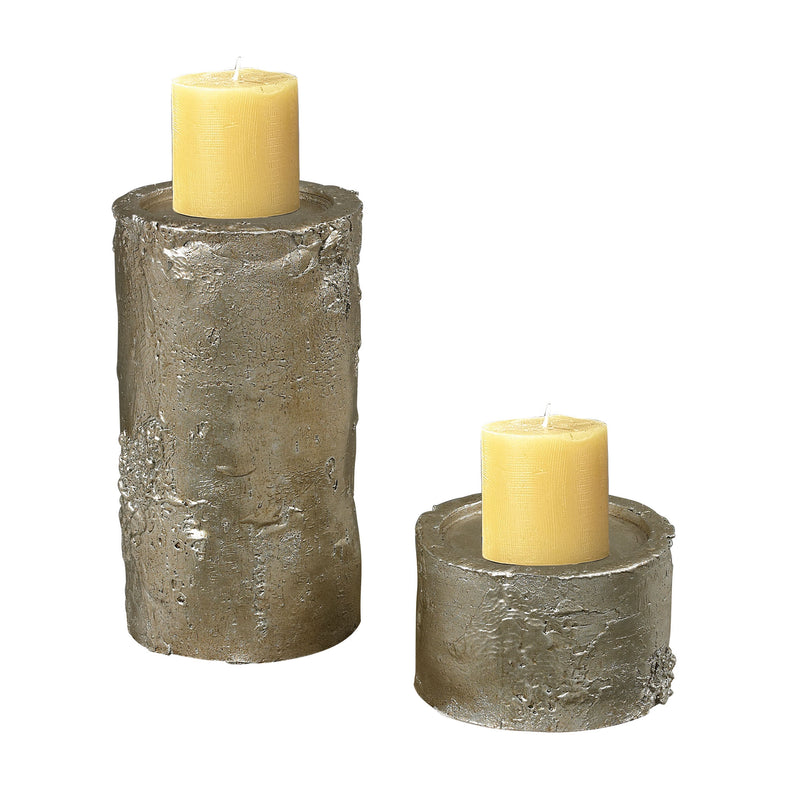BIRCH BARk CANDLE HOLDERS - SILVER LEAF WITH ANTIQUE
