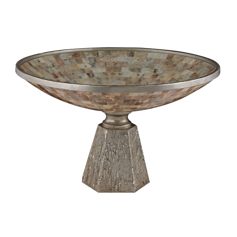 MOTHER OF PEARL BOWL SET ON SILVER LEAF BASE - MOTHER OF PEARL / SILVER LEAF