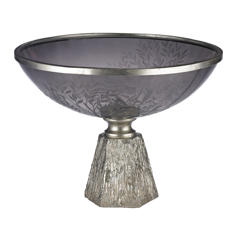 SMOkED GLASS BOWL WITH ETCHING SET ON SILVER LEAF BASE - GREY SMOkE / SILVER LEAF