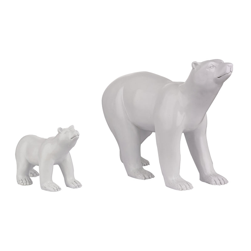SET OF 2 POLAR BEARS - GLOSS WHITE