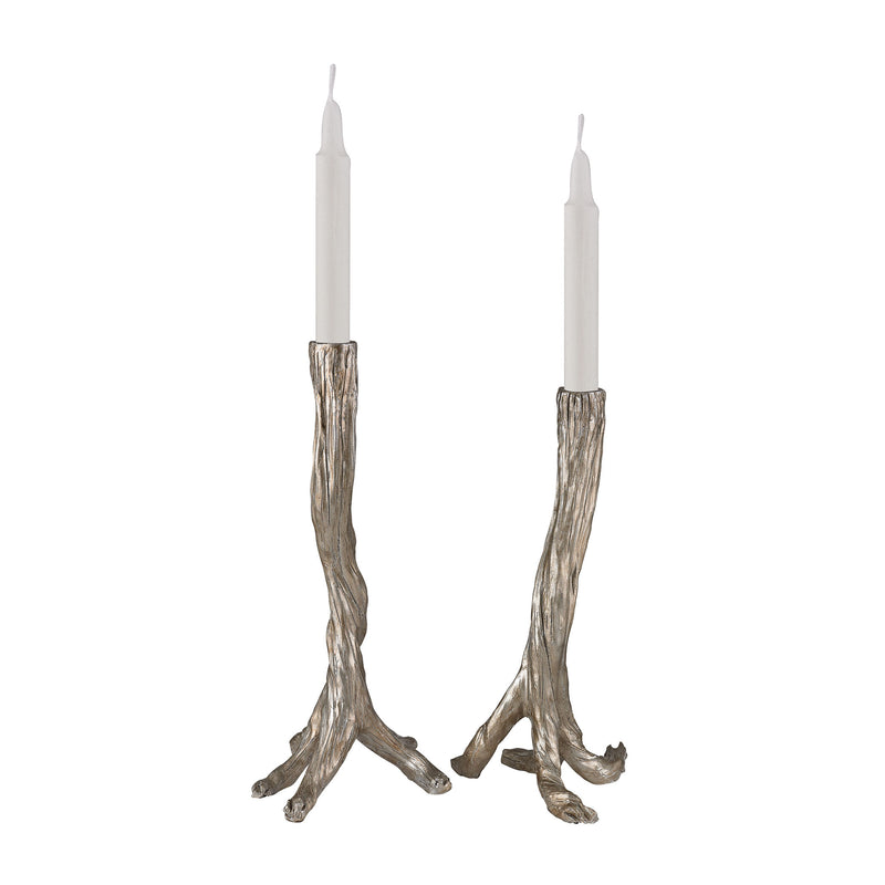 Silver Leafed Branch Candle Holders - Silver Leaf