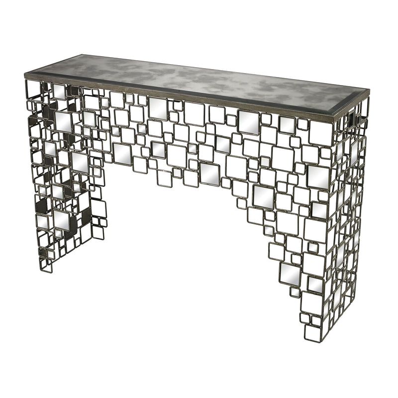 METAL AND ANTIQUE MIRROR CONSOLE TABLE - SEDGEWICk SILVER