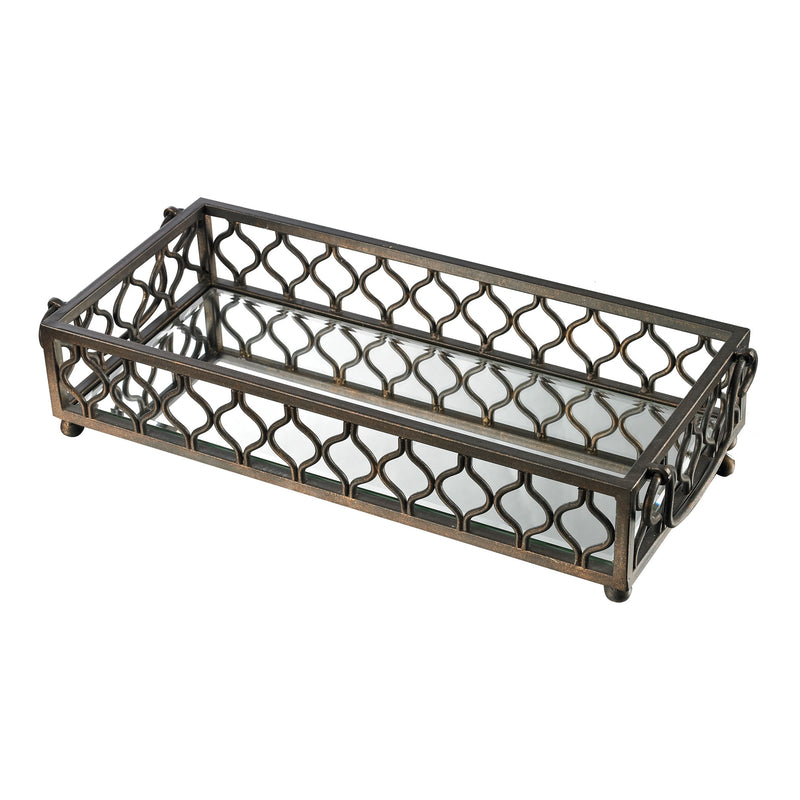 METAL FRAME MIRRORED TRAY - BALLATER BRONZE