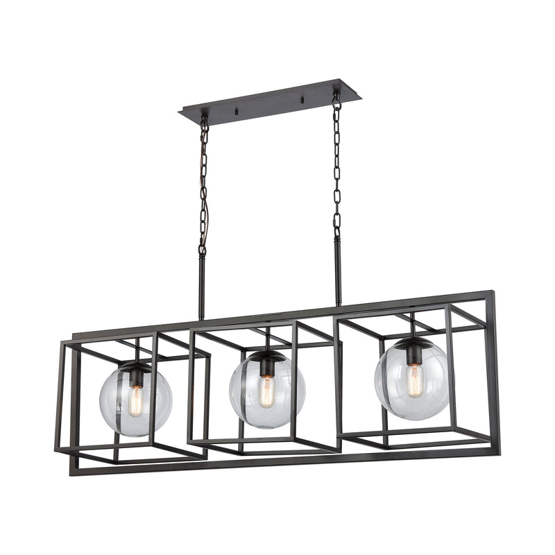 Beam Cage Island Light - OIL RUBBED BRONZE FINISH WITH CLEAR GLASS
