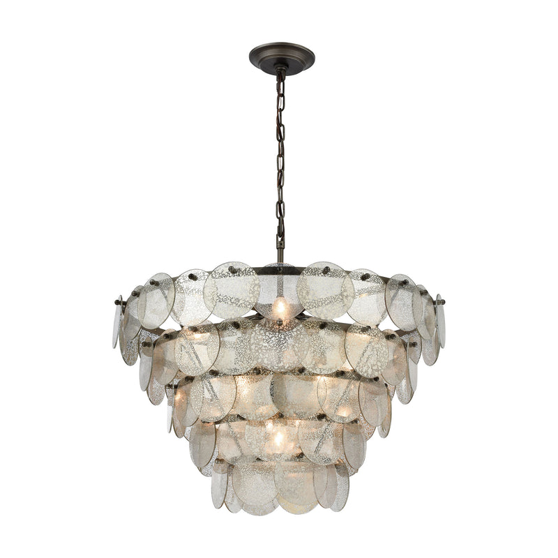 Airesse Chandelier - BRUSHED SLATE WITH MERCURY GLASS