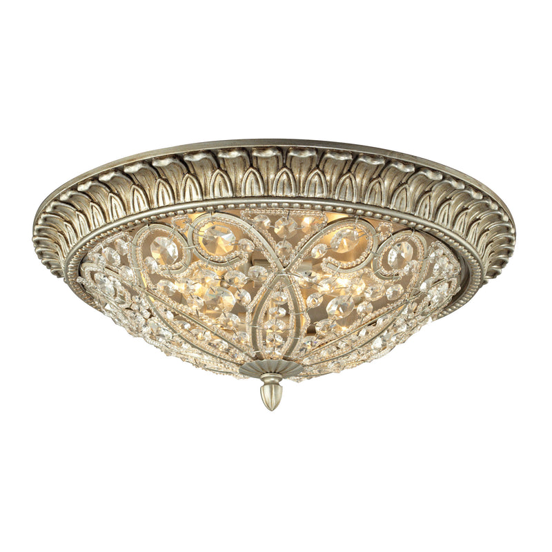 Andalusia 4 Light Flush Mount In Aged Silver - Aged Silver