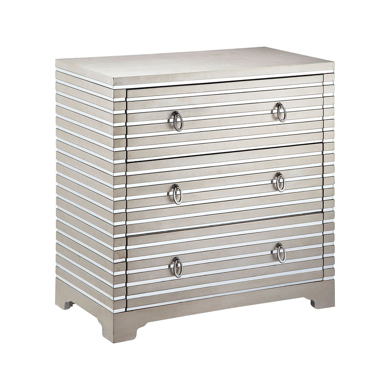 Foxy 3-Drawer Chest in Nickel,Hand-Painted,Champagne