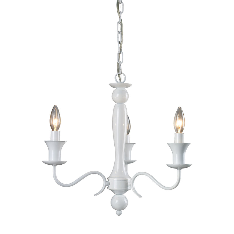 GLOSS WHITE 3 LIGHT CHANDELIER - GLOSS WHITE