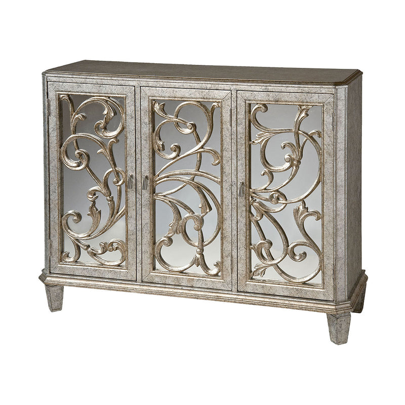 Leslie Cabinet in Hand-Painted,Antique Silver,Black