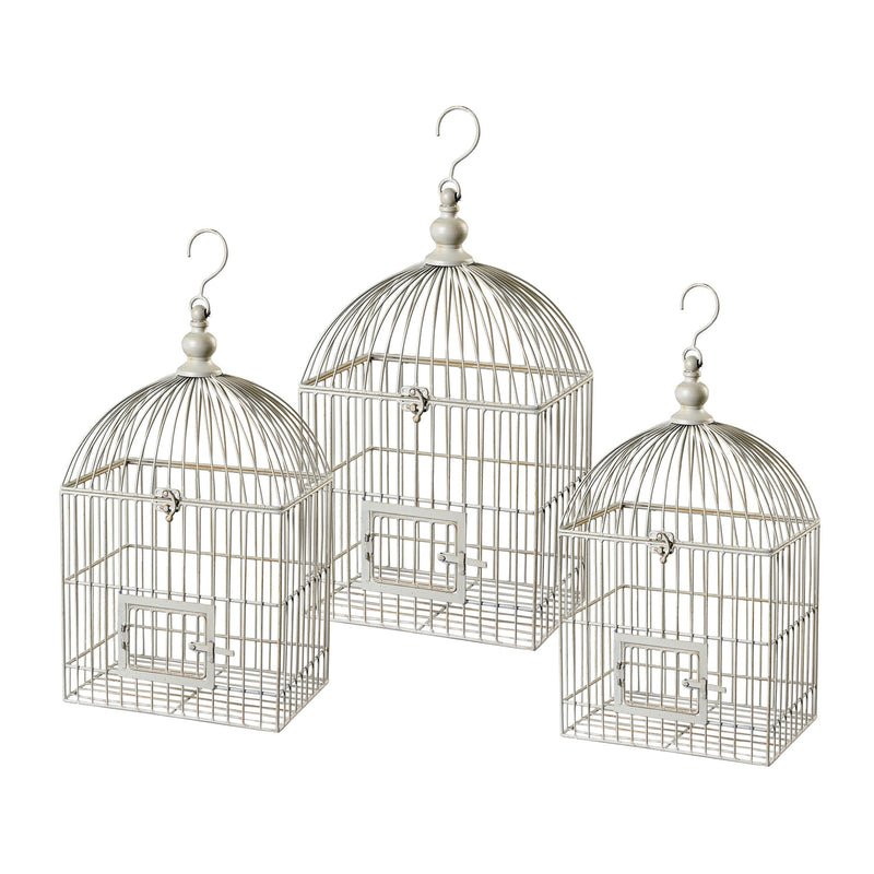VINTAGE DECORATIVE BIRD CAGE - WHITE