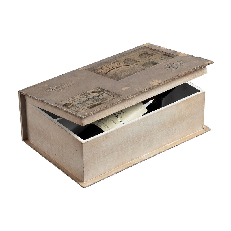 WINE HOLDER BOOk BOX - GARRON GREY  LINEN