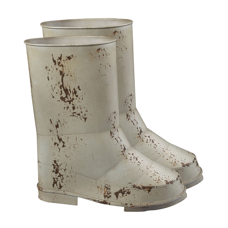 SET OF 2 BOOT PLANTERS - DISTRESSED COUNTRY CREAM