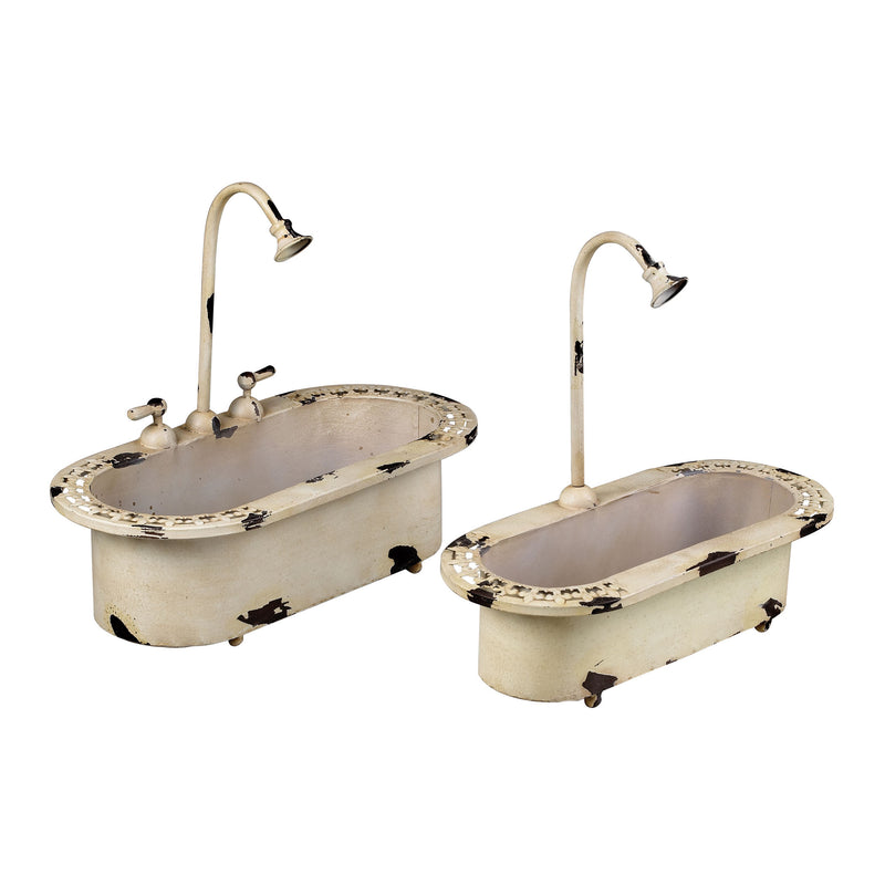 "SET OF 2 ""SINk"" PLANTERS - DISTRESSED COUNTRY CREAM"
