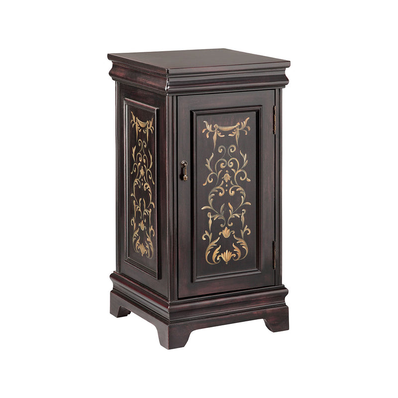 Pedastal Wine Cabinet in Hand-Painted,Black