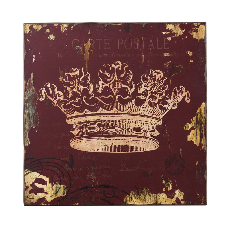 RED CROWN PRINT WALL DÉCOR - WASHED BURGUNDY