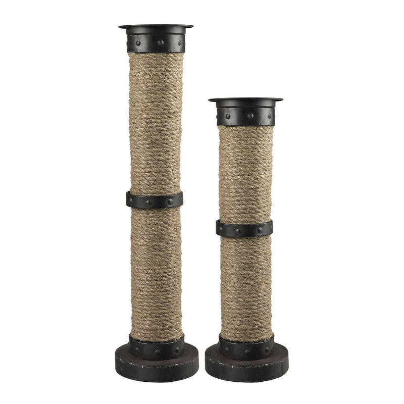 SET OF 2 LARGE NATURAL ROPE WRAPPED CANDLE HOLDERS - AGED BRONZE AND NATURAL ROPE