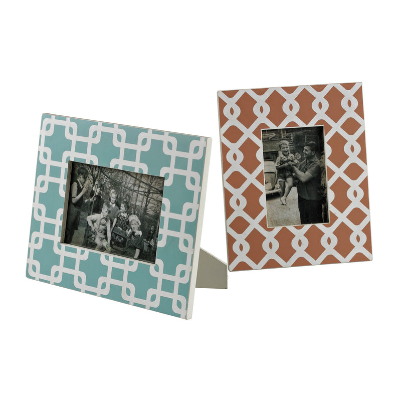 SET OF 2 CHEVRON PRINT PICTURE FRAMES - Off White With Chevron Print