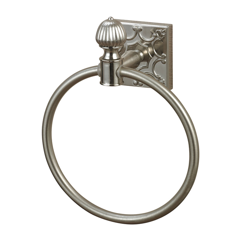 TOWEL RING IN BRUSHED STEEL WITH EMBOSSED BACk PLATE - BRUSHED STEEL