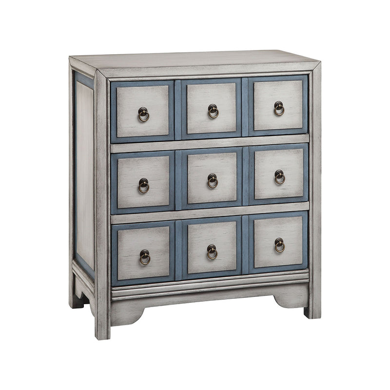 Adley Chest in Hand-Painted,White,Blue.Bronze