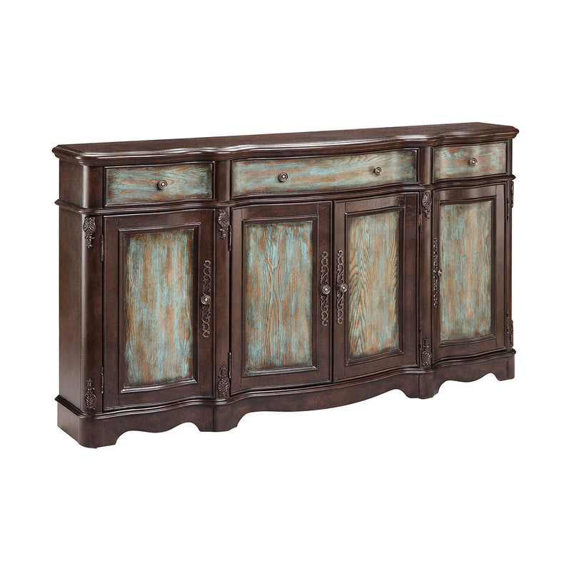 Laurie Cabinet in Turquoise,Dark Brown