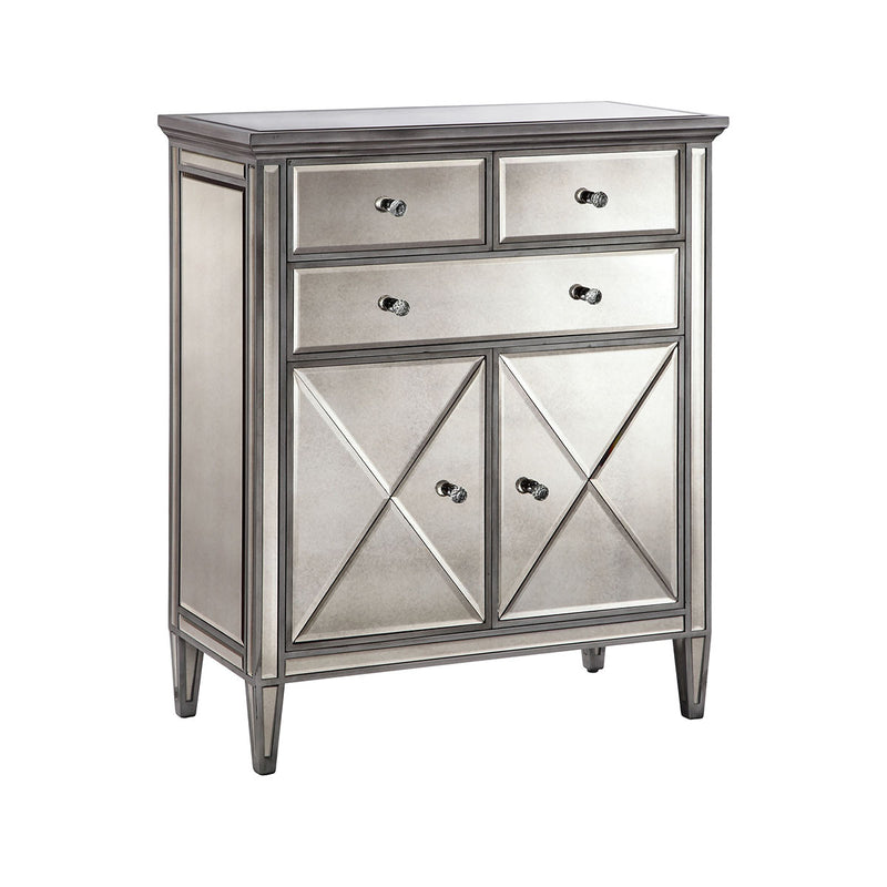 Dana Cabinet in Hand-Painted,Silver,Clear