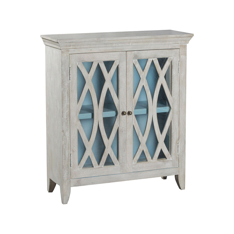 Marigot 2-Door Accent Cabinet in Whitewash,Light Blye,Antique Bronze