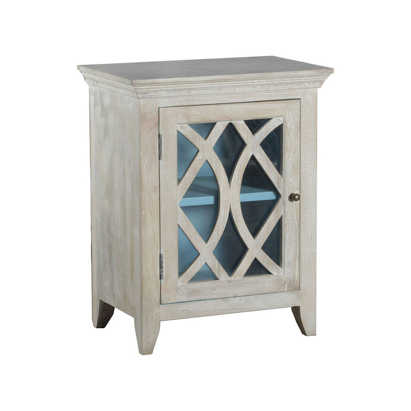 Blanche 1-Door Accent Cabinet in Whitewash,Blue