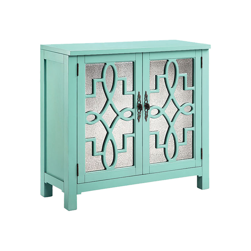 Laden Cabinet In Turquoise in Hand-Painted,Turquoise,Antique Mirror