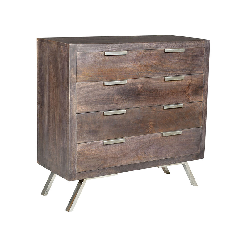 Hector 4-Drawer Retro Accent Chest in Ebony
