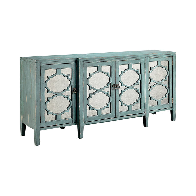 Carrie Breakfront Credenza in Hand-Painted,Blue,Gray,Antique Mirror