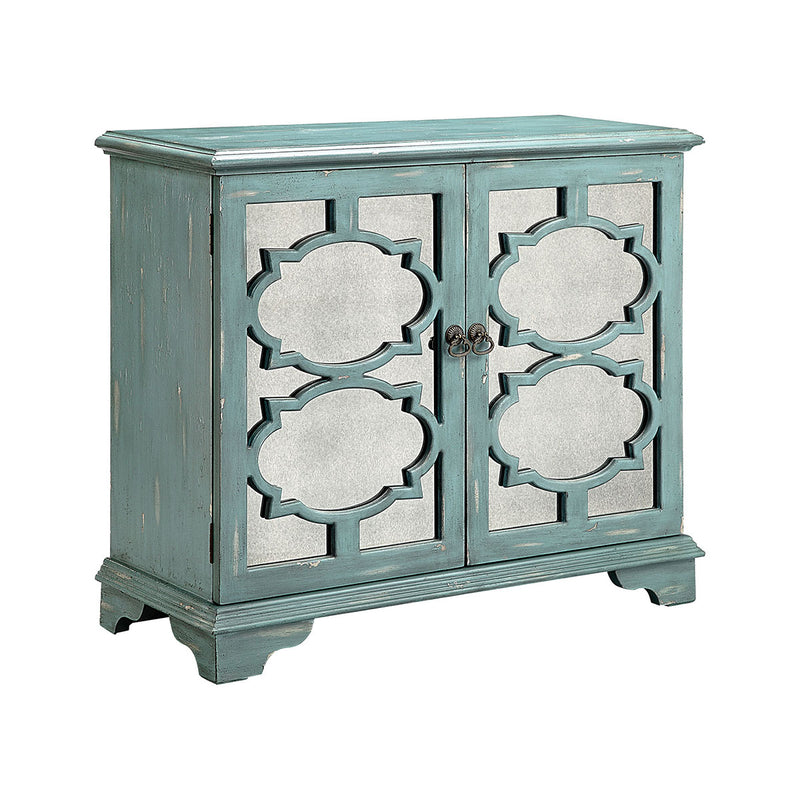 Candice Cabinet in Antique Mirror,Hand-Painted, Antique Blue,Gray