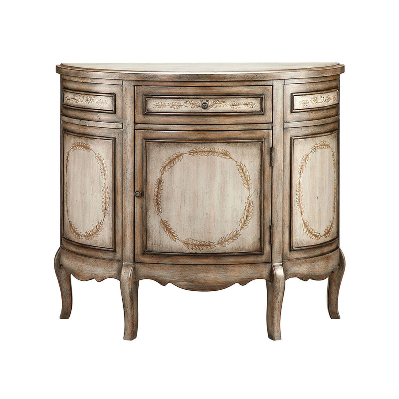 Laurel Demilune Cabinet in Hand-Painted,Antique Wood-Tone,Gray