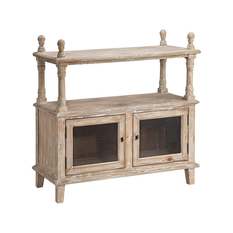 Georgia Display Cabinet in Whitewash,Antique Bronze,Brown