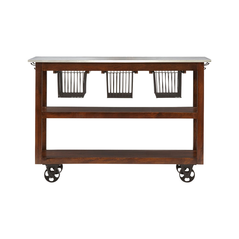 Kitch Rolling Kitchen Cart in Hand-Painted,Wood-Tone