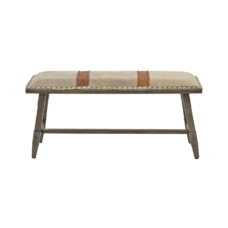 Amiya Accent Bench in Light Gray,Brown,Nailhead,Gray