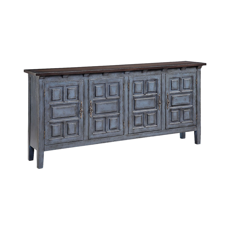 Cort Cabinet in Hand-Painted,Blue,Dark Brown