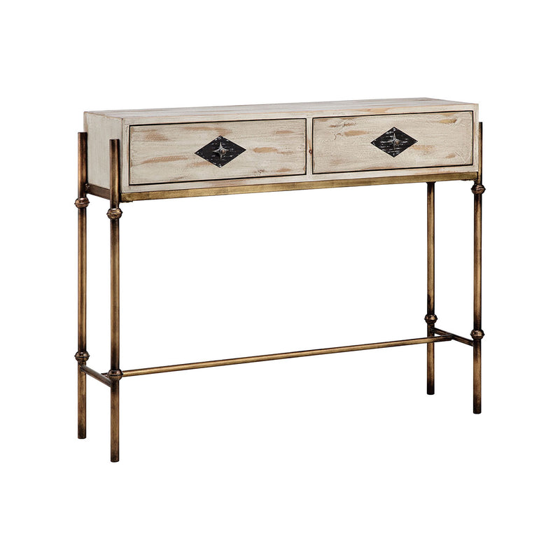 Telsa Console Table in Burnished Gold,Hand-Painted,White,Burnished Bronze