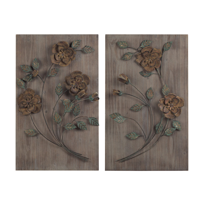 SET OF 2 WOODEN WALL PANEL WITH HANDPAINTED METAL FLOWERS - ASHFIELD